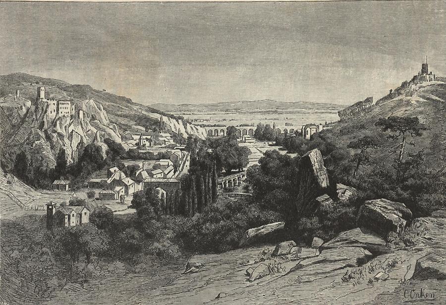 Das Helenenthal mit den Ruinen Rauhenstein und Rauheneck, von Karl Onken, u